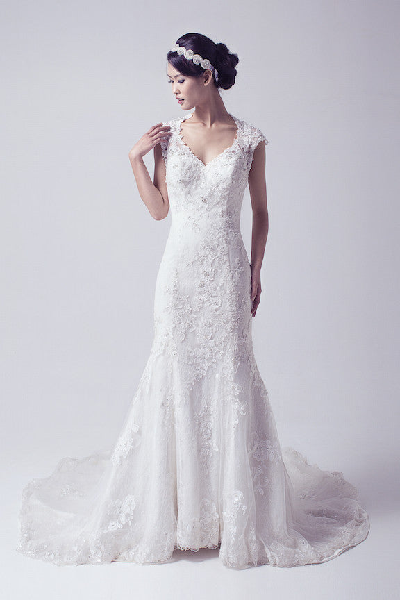 Essense Bridal - Rent: Jewel Neckline Beaded Lace Wedding Gown-The Dresscodes - 1