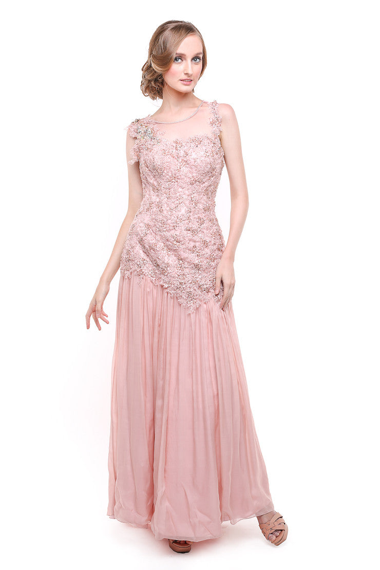 Evelyn - Buy: Pink Beaded Chiffon Gown-The Dresscodes - 1