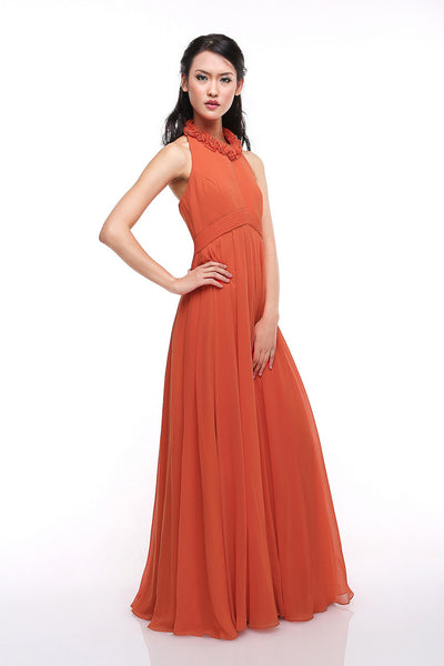 Faith Hope Love - Buy: Orange Halter Chiffon Gown-The Dresscodes - 1