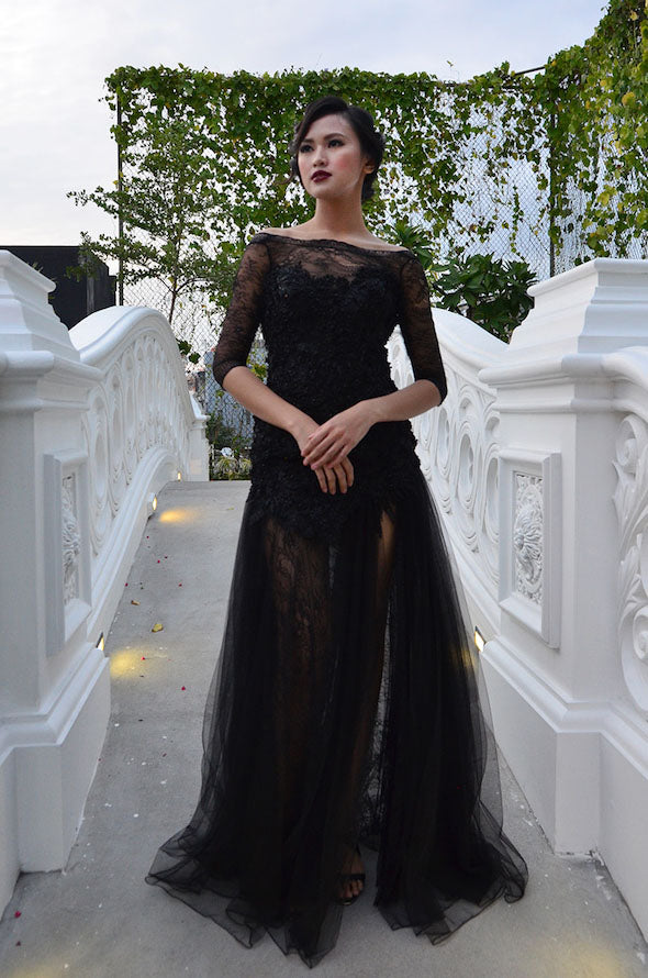 Buy: Felita Wirawan Black Lace Tulle Gown with Slit