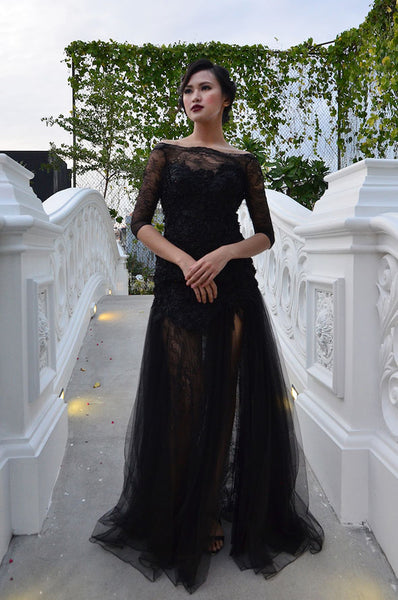 Rent: Felita Wirawan Black Lace Tulle Gown with Slit