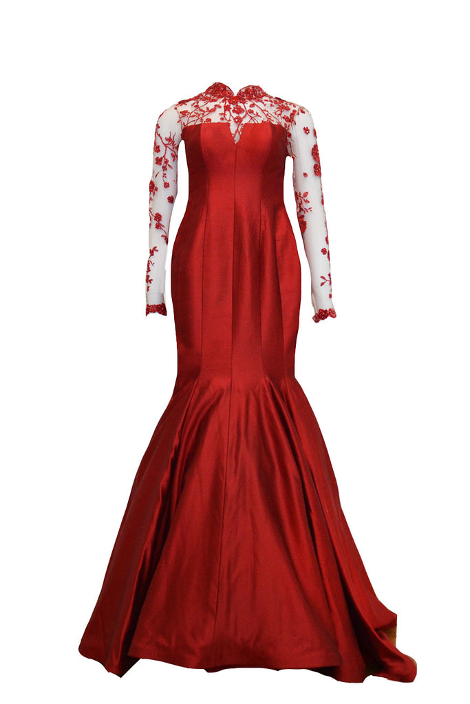 Buy: Felita Wirawan Red Long Sleeves Cheong Sam Gown