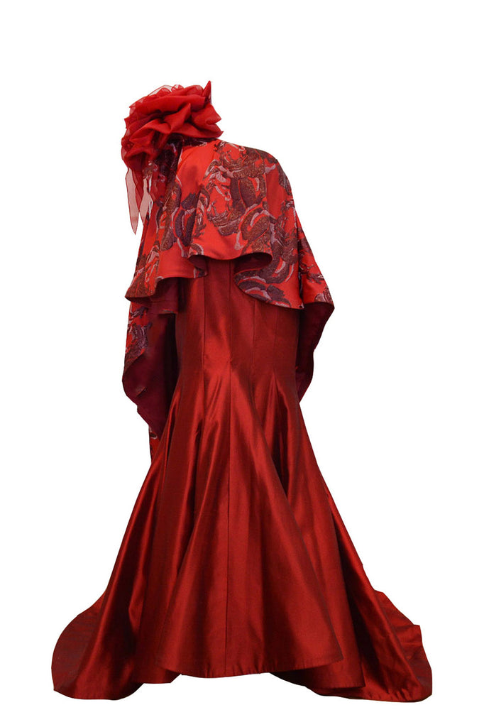 Rent: Felita Wirawan Red Rose One Shoulder Gown