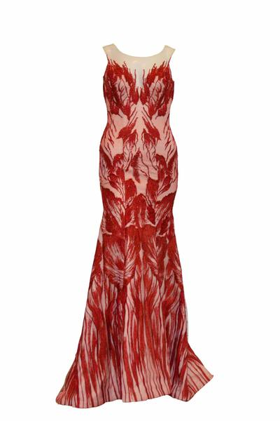 Sale: Felita Wirawan Red Embroidery Mermaid Gown