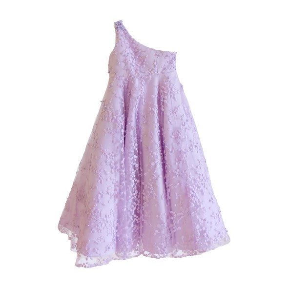 Rent : Fetty Rusli Kids - One Shoulder Embroidery Gown in Lilac