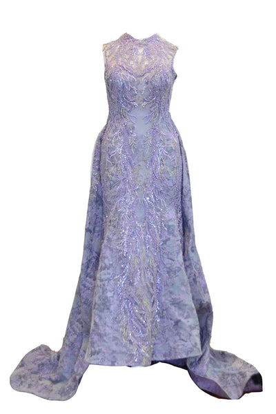 Rent: Fetty Rusli - Purple Embroidered High Neck Ball Gown