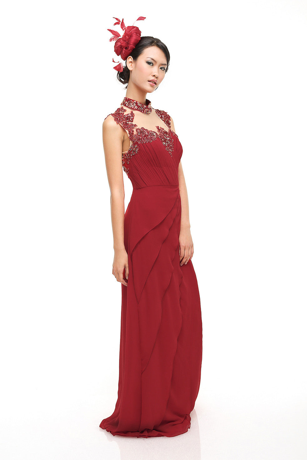 Fluorescence - Buy: Red Beaded Cheongsam Chiffon Dress-The Dresscodes - 1