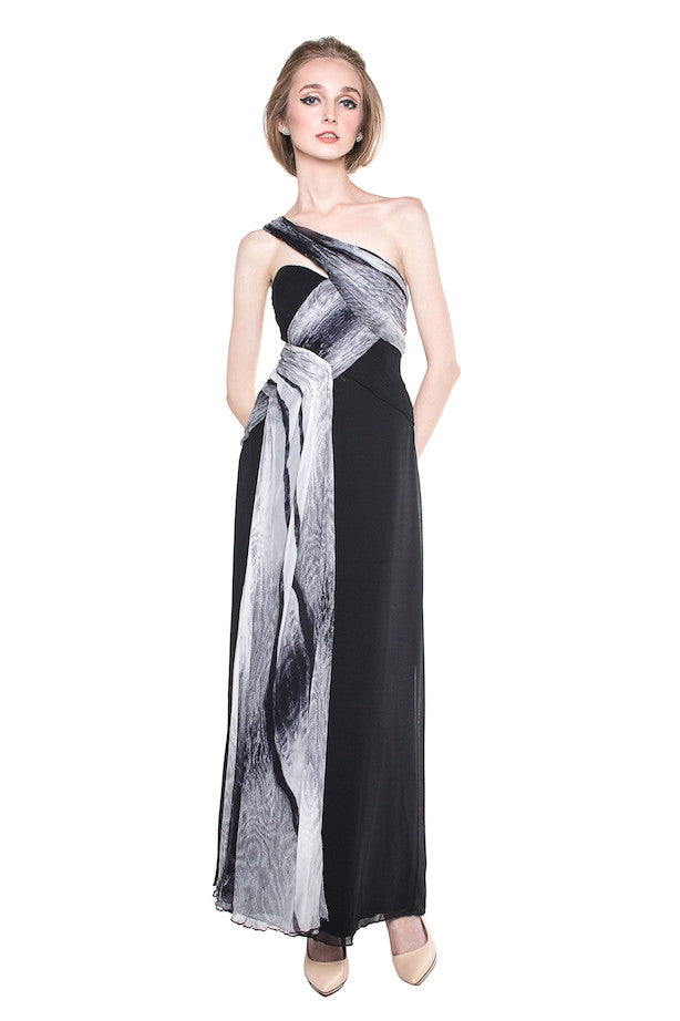 George Evening - Buy: One Shoulder Black & White-The Dresscodes - 1