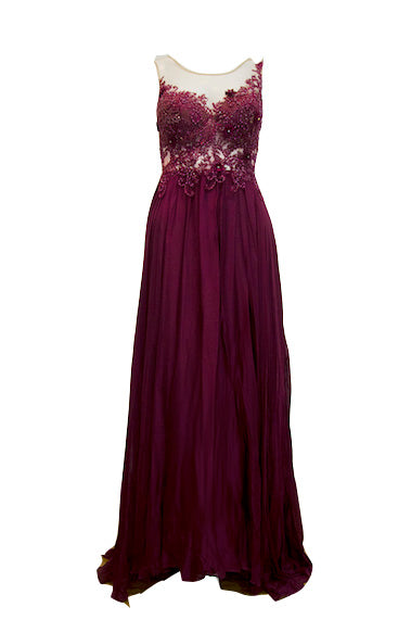 Rent: Gisela Beaded Maroon Evening Gown