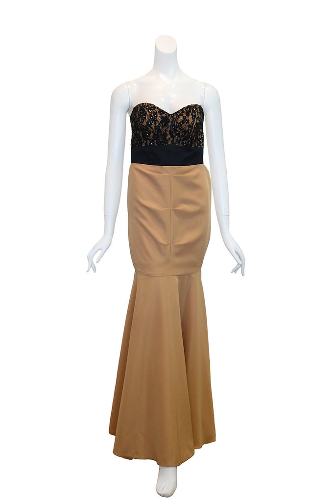 Buy: Gisela Privee Brown Dress with Black Lace