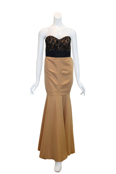 Buy: Gisela Privee Gold Dress with Black Lace