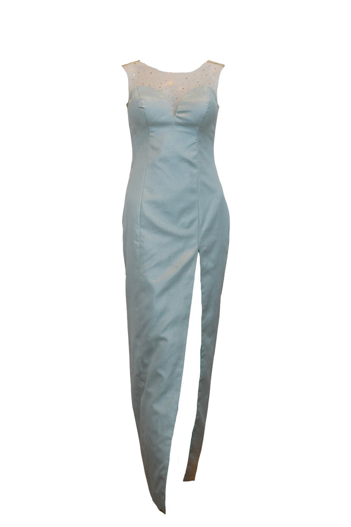 Buy: Gisela Privee Blue Mint Long Slit Dress
