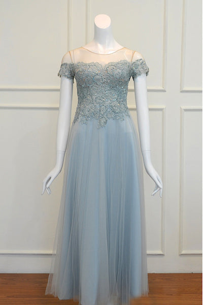 Buy: Gisela Privee Dusty Blue Tulle Dress
