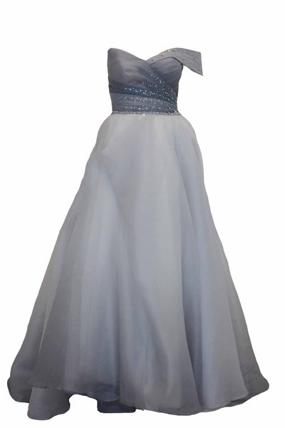 Rent: Gisela Privee One Shoulder Pleated Chiffon Top with Ball Gown Skirt