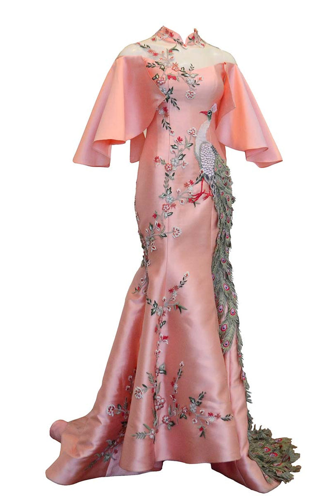 Rent: Gisela Privee Pink Cheongsam Mermaid Gown with Embroidered Phoenix