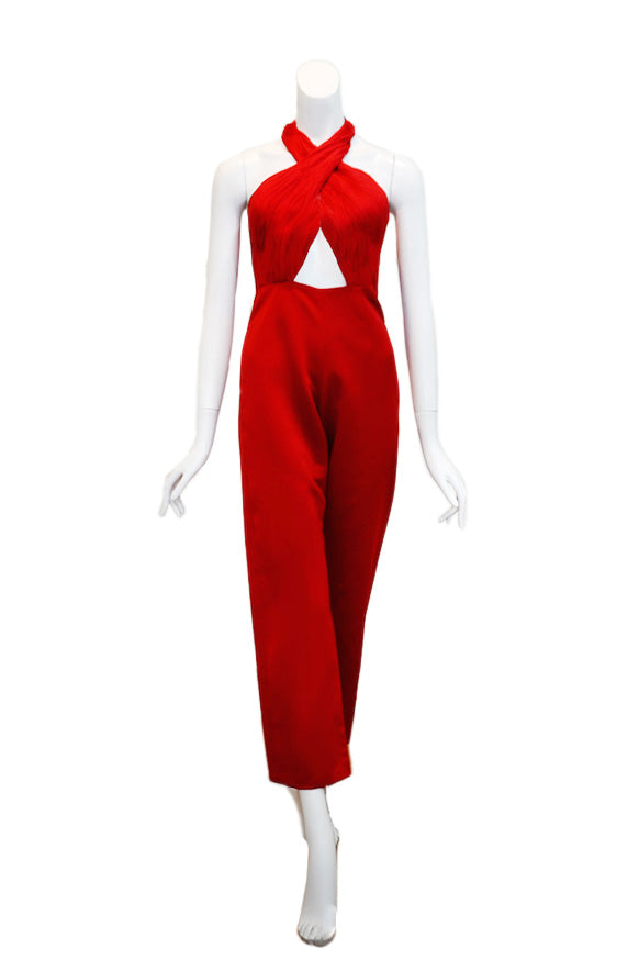 Buy: Gisela Privee Red Halter Jumpsuit