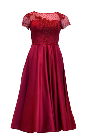Rent:  Gisela Privee - Short Sleeve Red Wine Midi Dress