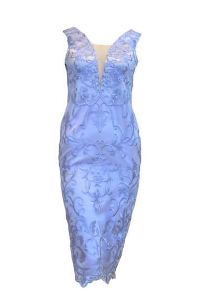Rent:  Gisela Privee - Sleeveless with V-Neck Blue Brocade Dress