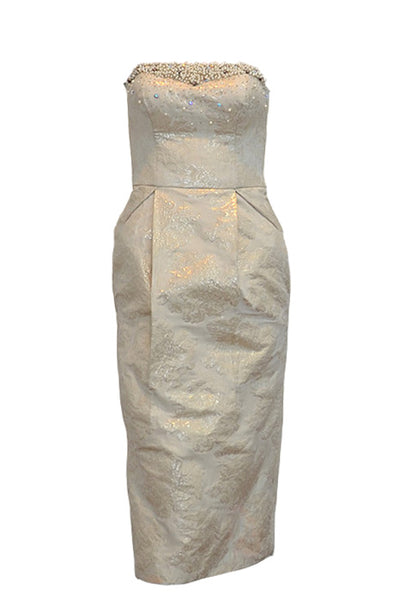 Rent: Gisela Privee White Cream Pearl Jacquard Dress