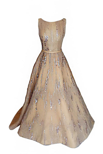 Rent: Hian Tjen Gold Sleeveless Ball Gown