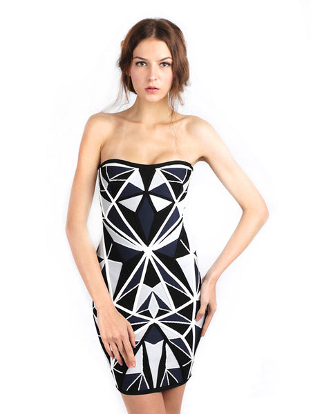 Herve Leger - Rent: Herve Leger Jamari Geometric Dress-The Dresscodes - 1