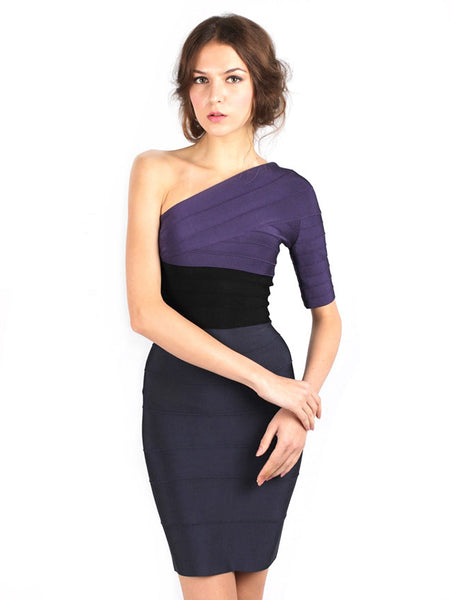 Herve Leger - Rent: One Shoulder Color Block-The Dresscodes - 1