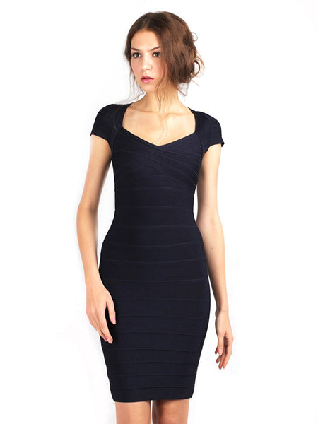 Herve Leger - Rent: Raquel Navy Blue Dress-The Dresscodes - 1