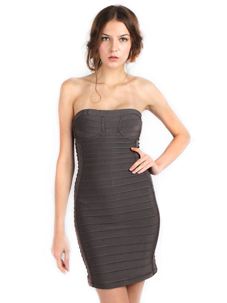 Herve Leger - Rent: Green Side Braids Bandage Dress-The Dresscodes - 1