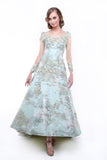 Hian Tjen - Rent: Hian Tjen Blue Green Jacquard Long Sleeves Gown-The Dresscodes - 2