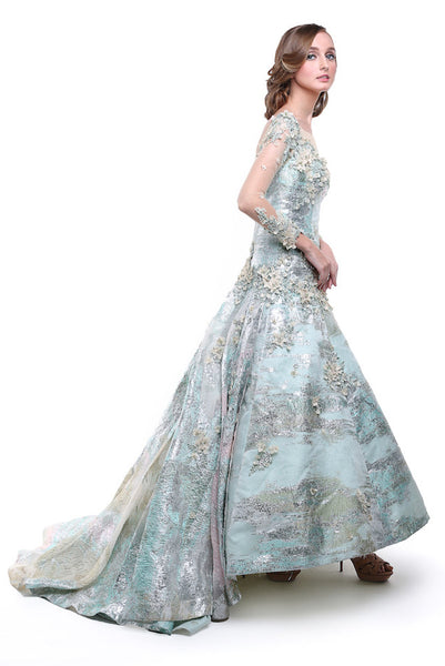 Hian Tjen - Buy: Blue Green Jacquard Long Sleeves Gown-The Dresscodes - 1