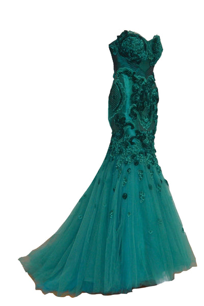 Rent: Hian Tjen Green Strapless Mermaid Gown