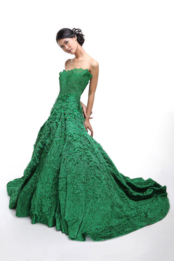 Hian Tjen Green Strapless Gown | TheDresscodes.com