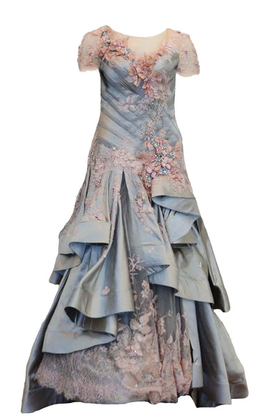 Rent: Imelda Kartini Silver Pink Ruffles Ball Gown
