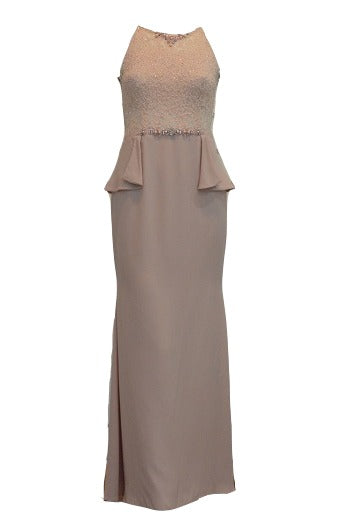 Sale : Peaches Pinkish - Halter Neck with Beaded Mermaid Gown