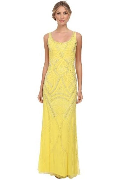 Rent: Adrianna Papell Yellow Sequins Long Dress