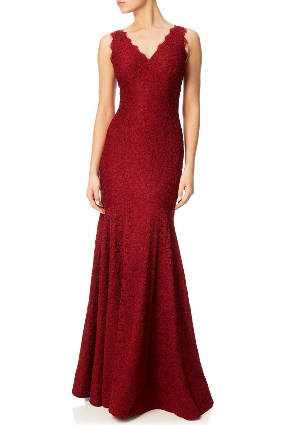 Rent: Adrianna Papell - Sleeveless V Neck Lace Trumpet Gown