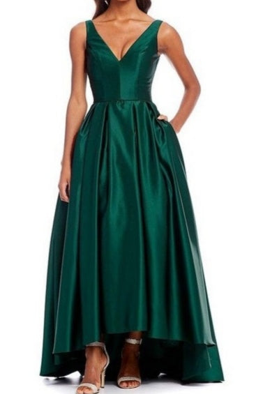 Rent : Betsy Adam - Green V Neck High Low Gown