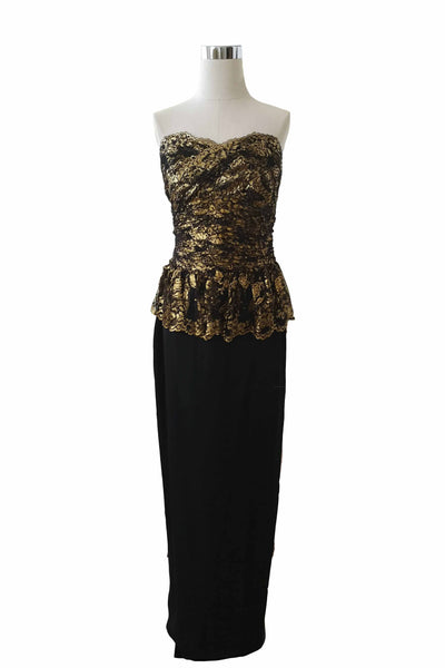 Rent: Marchesa Notte  Black Gold Peplum Dress
