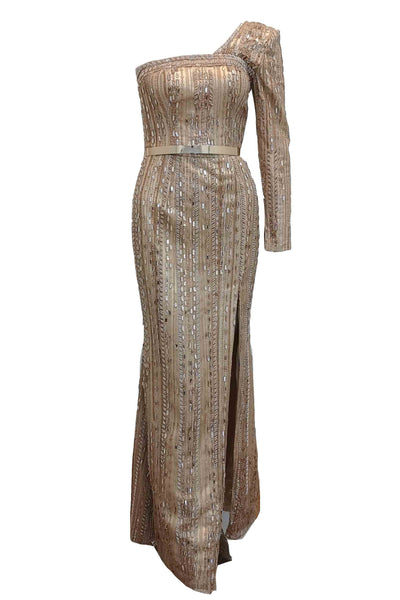 Rent: Anrini Polim - One Sleeves Fully Beaded Dress With Slit