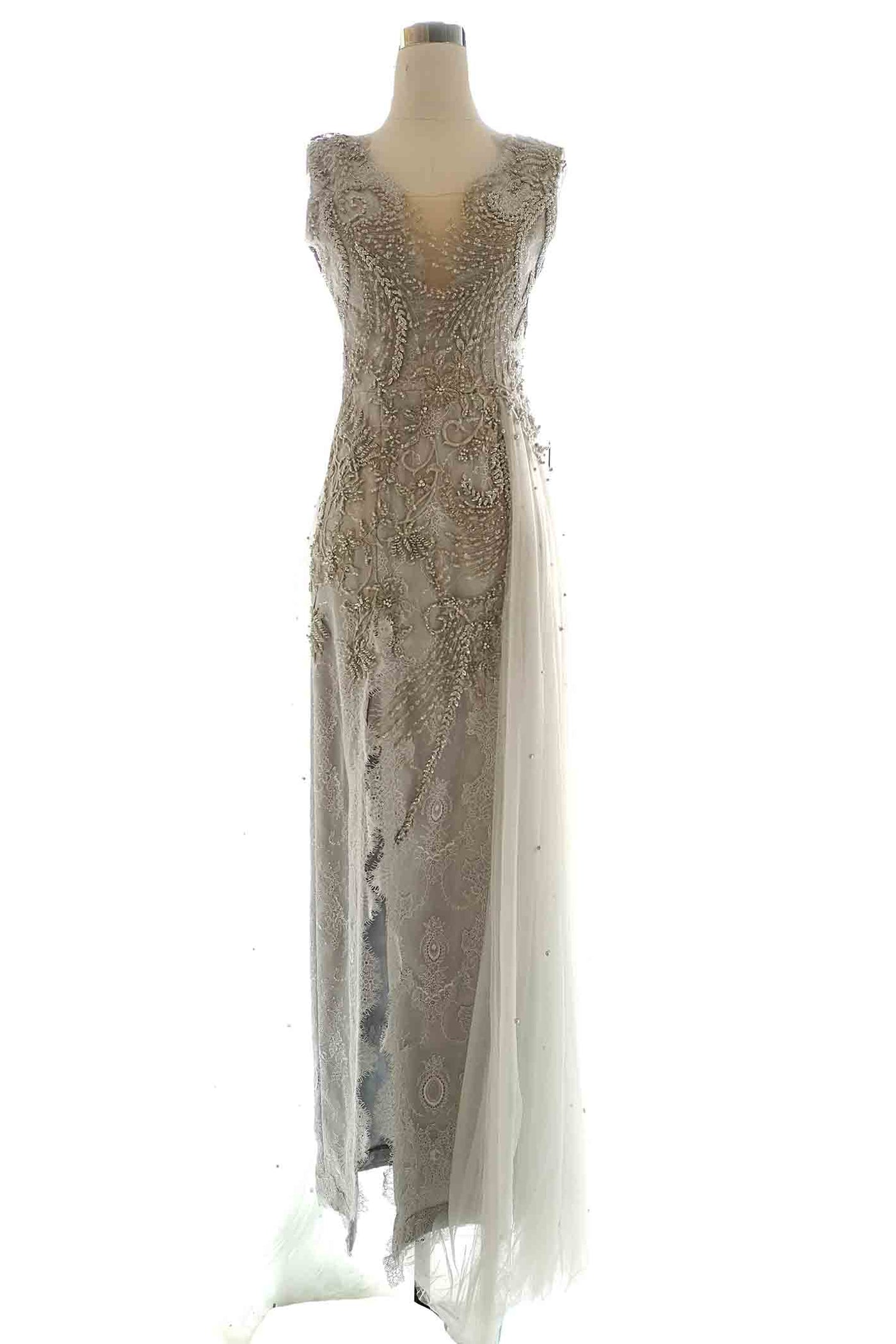 Rent : YCL - Silver Backless with Tulle Gown