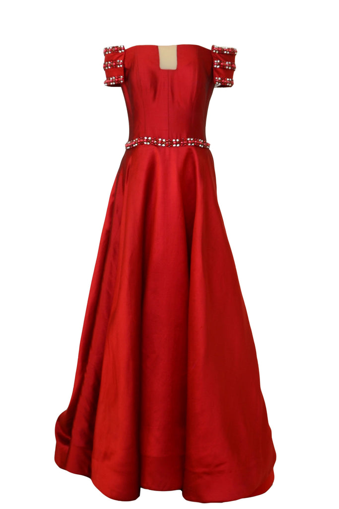 Buy: Imelda Hudiyono Red Off Shoulder Jacquard Gown