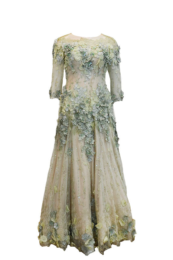 Rent: Imelda Kartini Pastel Green Long Sleeves Floral Gown