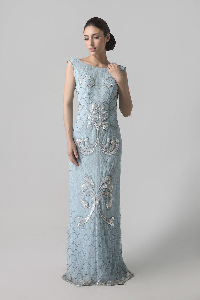 Jeffry Tan - Buy: Blue Beaded Mermaid Dress-The Dresscodes - 1
