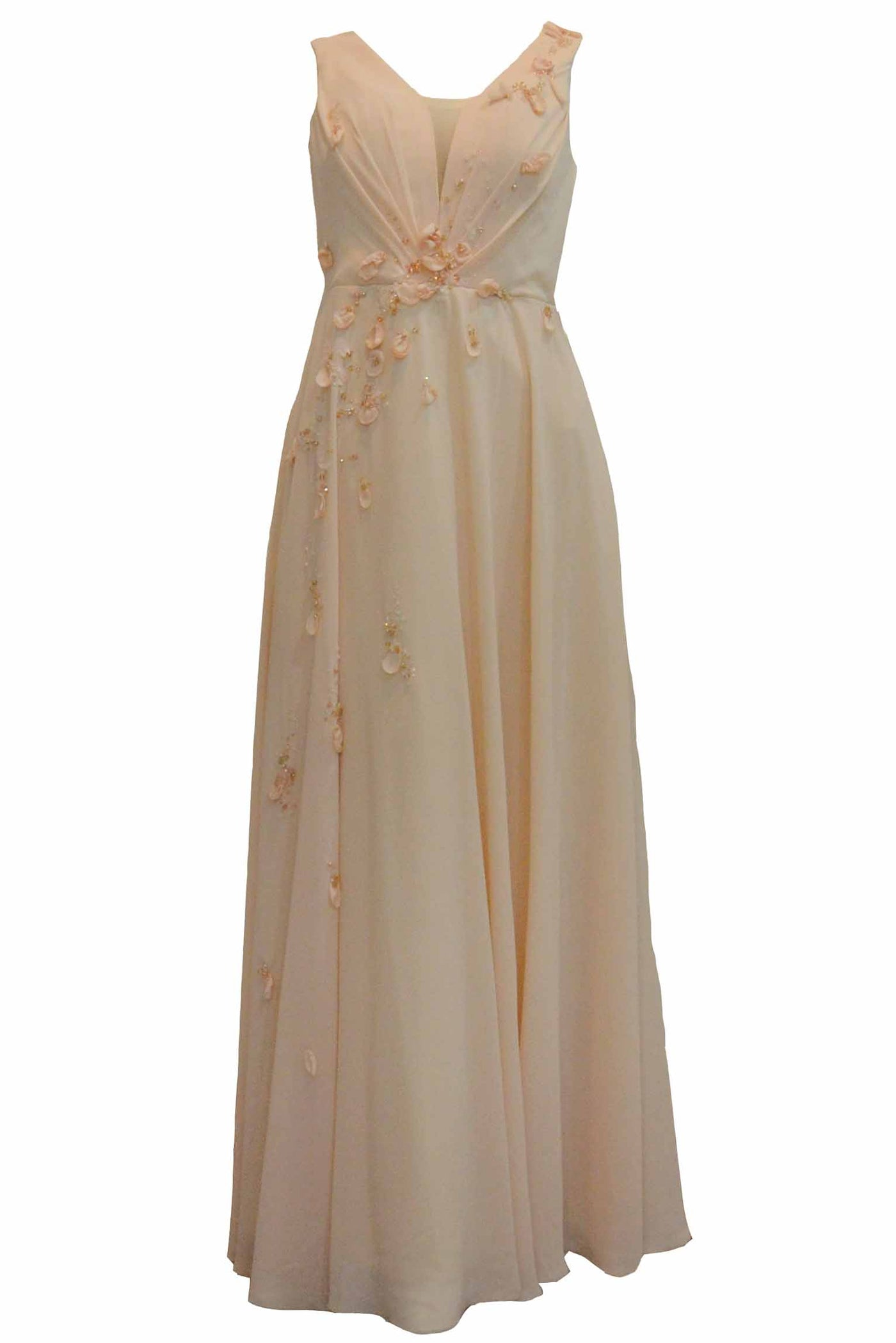 Rent : Janette J - Peach Sleeveless V Neck Gown