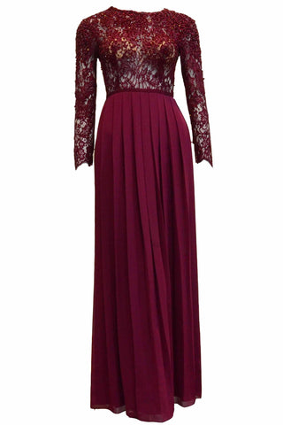 Rent : Janette J - Maroon Long Sleeves Beaded Gown
