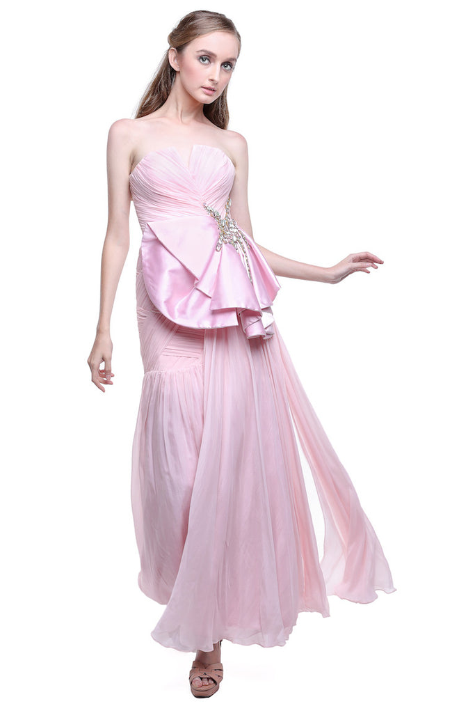 Jeanny Ang - Buy: Pink Chiffon Bow Dress-The Dresscodes - 1