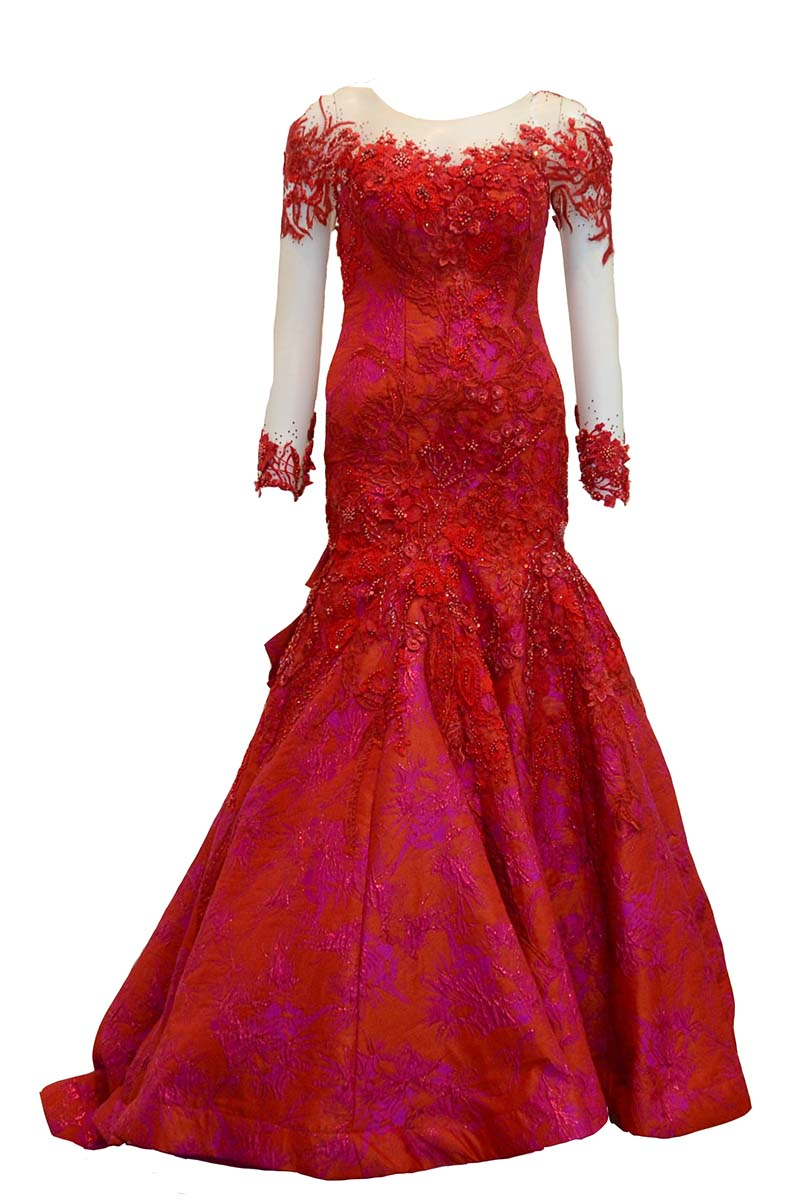 Sale: Jessica Dora Red Long Sleeves Jacquard Ball Gown