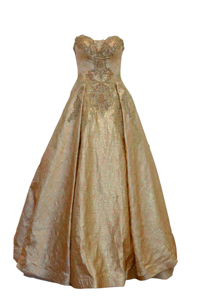 Rent: Jessica Dora Rose Gold Sweetheart Jacquard A-Line Gown