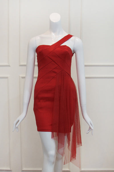 Buy: Jessica McClintock One Shoulder Red Cocktail Dress