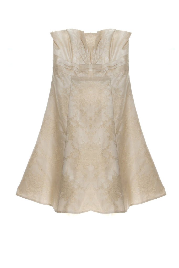 Jessica McClintock - Buy: White Jacquard Cocktail Mini Dress-The Dresscodes